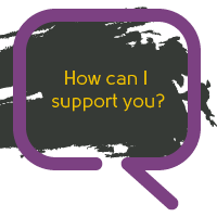 A speech bubble with the message 'How can I support you?'